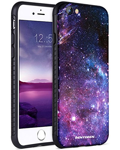 iPhone 6S Case,iPhone 6 Case,iPhone 6S Space Case,BENTOBEN Nebula Space Universe Print Slim 2 in 1 Hybrid Hard PC Flexible TPU Anti Slip Drop Proof Protective Case for iPhone 6/6S Purple Nebula