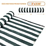 3' x 235' Dark Green With White Stripes Residential Commercial Privacy Deck Fence Screen 200 GSM Weather Resistant Outdoor Protection Fencing Net for Balcony Verandah Porch Patio Pool Backyard Rails