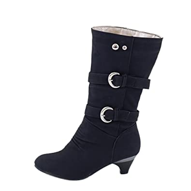 4c446906b7c4 Susenstone Femme Bottes Hiver Chaud Casual Le Genou Chaussures CompenséEs  en Cuir Plate Bout Rond Chaud