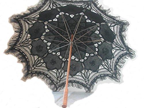 Black Embroidered Lace Parasol W/organza Lace Trim by lace-parasols (Image #1)