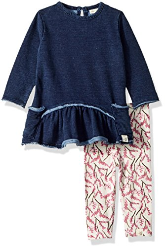 (Burt's Bees Baby Baby Girls' 100% Organic Cotton Dress Pant Set, Midnight, 12 Months)