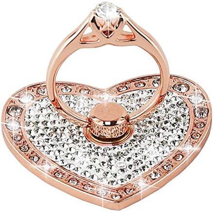 CXMALL Anillo de agarre de metal giratorio 360 para teléfono celular, soporte de anillo con diamantes brillantes para todos los teléfonos móviles, iPad y tabletas.