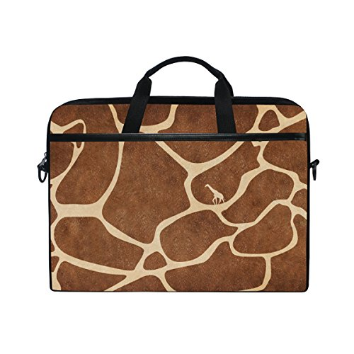 Laptop Bag for Men Women Lighweight Canvas Laptop Shoulder Messenger Bag with Giraffe Skin Print Travel Briefcase Fits 15-15.4 Inch