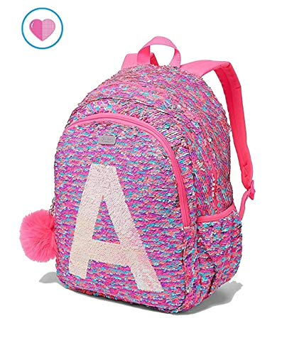 Justice School Backpack Flip Sequin Fearless Shaky Initial (Letter M)
