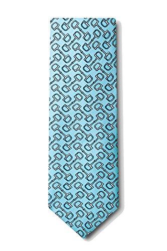 Men's 100% Silk Light Blue Equestrian Horse Bit by Bit Necktie Neck Tie Neckwear
