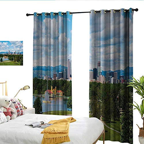 WinfreyDecor Urban Fashionable Curtains City Park at Denver Colorado Downtown Tree and Architecture Sunny Panorama Privacy Protection W84 x L96 (Best Privacy Trees Colorado)
