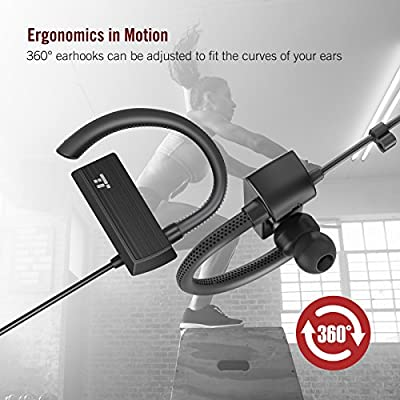 TaoTronics Bluetooth Headphones, Wireless in Ear Earbuds, Sports Earphones with 360° Adjustable Earhooks (15 Hour Playtime, aptX Lossless Sound and CVC 6.0 Noise Cancelling Mic?IPX5 Sweat Proof)