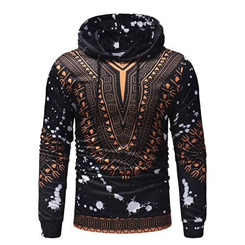 Skyyeox Unisex Long Sleeve Fashion African Dashiki Printing Men Hoodies with Pocket Sweatshirts 14/16 Black 02