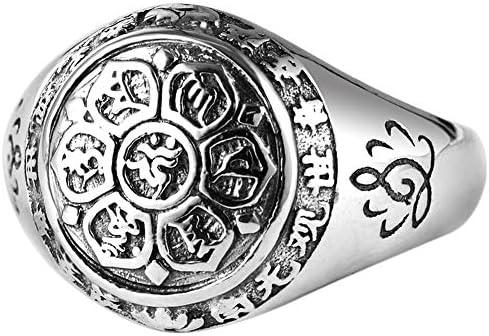 シルバー925 リング メンズ 梵字リング 真言指輪 釈迦如来 指輪 ユニセックス チベット密教 シルバー リング(指輪)シンプル 誕生日 プレゼント 六字真言 蓮花 マントラ仏教