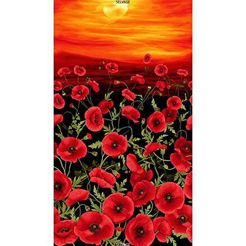 "Timeless Treasures Tuscan Poppies Poppy Garden Scenic 24"" Panel"