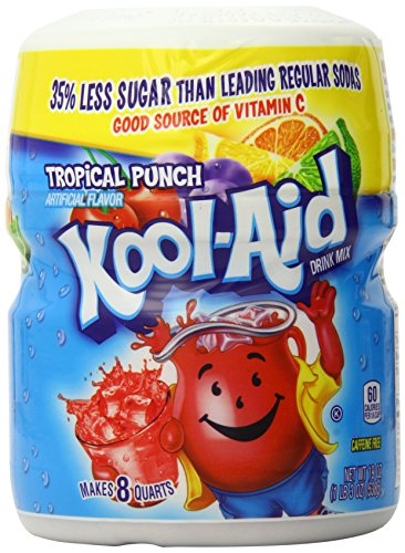 Kool Aid Sweetened Tropical Punch Drink Mix, Makes 8 Quarts (190z Canister, Pack of 4)