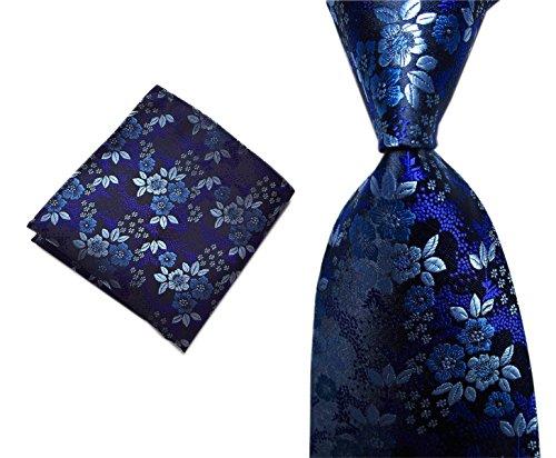 nky Set Dark Purple Blue Small Floral Wedding Dance Neckties ()