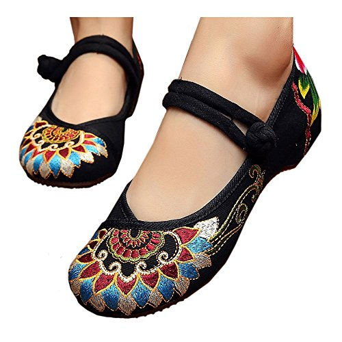 Dance Square Old 35 Style Embroidered Shoes Beijing Cloth National black SxUn7Zg