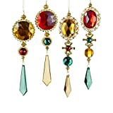 "Kurt Adler 7.5-7.75"" GOLD GREEN RED JEWEL DROP ORNAMENT"