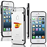 Apple iPhone 5 5s Transparent Clear Hard TPU Case Cover Spain Spanish Flag (Black)