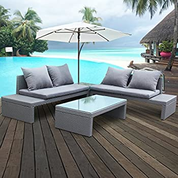 Cloud Mountain 4 PC PE Outdoor Cushioned Patio Garden Furniture Set Rattan  Double Sofa, Glass Table U0026 Side Table, Bluish Gray