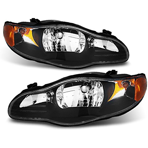 For Chevy Monte Carlo Amber Black Replacement Headlights Driver/Passenger Head Lamps Pair ()