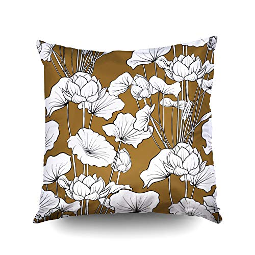 ROOLAYS Decorative Throw Square Pillow Case Cover 16X16Inch,Cotton Cushion Covers Halloween Pattern Background Lotus Flower Botanical Both Sides Printing Invisible Zipper Home Sofa Decor Pillowcase