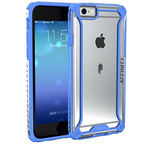 iPhone 6S Plus Case, POETIC Affinity Series Premium Thin/No Bulk/protection where its needed/Clear/Dual material Protective Bumper Case for Apple iPhone 6S Plus/iPhone 6 Plus (Blue/Clear)