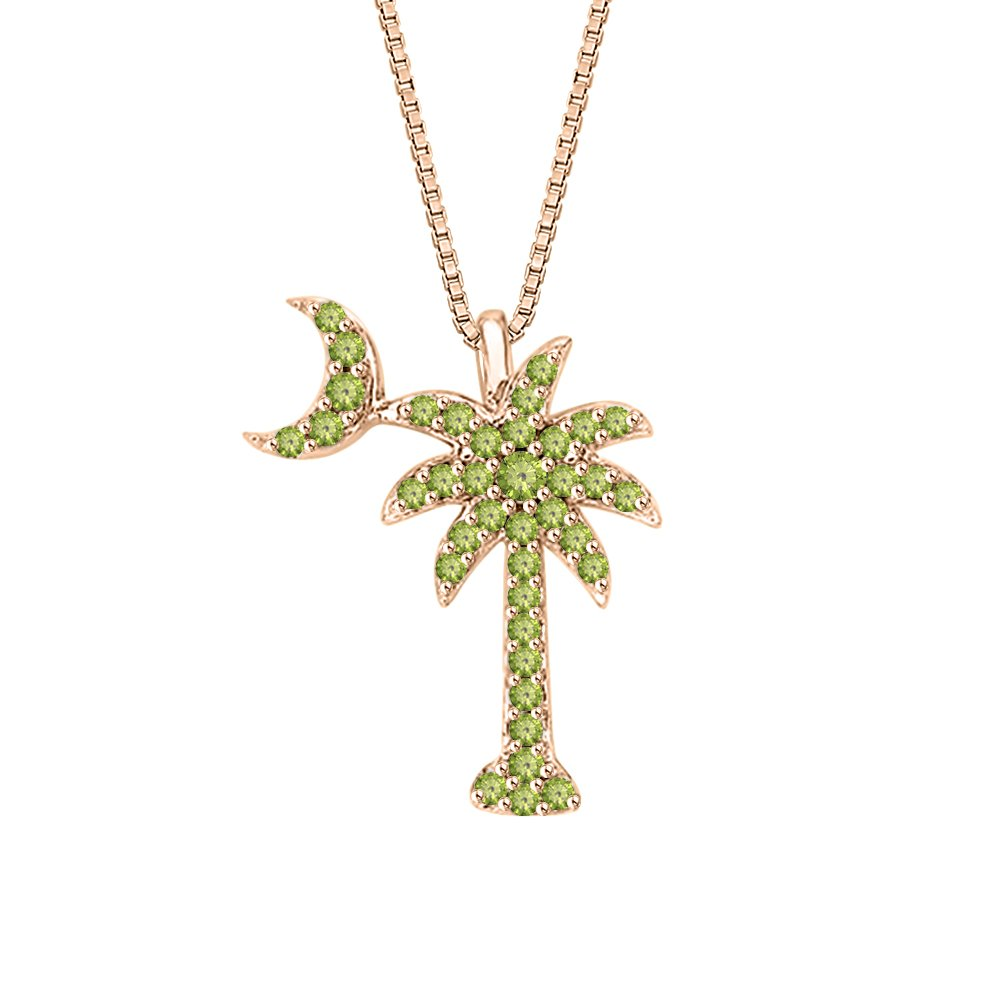 KATARINA Peridot GemstonePalm Tree with Crescent Moon Pendant Necklace in Gold or Silver 1//4 cttw