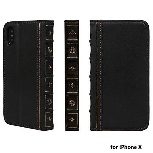 Case for iPhone X, xhorizon SR Premium Leather Wallet Book Case Credit Card Holder Vintage Book Style Antique Style (Old-looking) Wallet Flip Slim Case for iPhone X iPhone 10