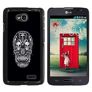 For LG Optimus L70 / LS620 / D325 / MS323 Case , White Black Ink Tattoo Minimalist - Diseño Patrón Teléfono Caso Cubierta Case Bumper Duro Protección Case Cover Funda