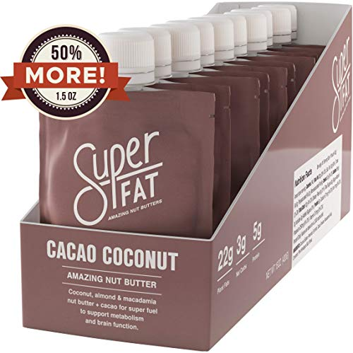 SuperFat Nut Butter Keto Snacks - Macadamia & Almond Nut Butter Fat Bomb Paleo Snack For Energy, Metabolism & Brain Function, Vegan, Gluten Free, Low Net Carb Box of 10 ()