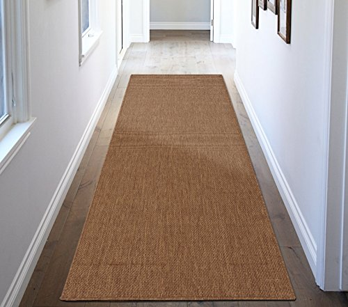 Clean Jute Rug - Ottomanson Jardin Collection Natural Solid Design Indoor/Outdoor Jute Backing Synthetic Sisal Runner Rug, Dark Brown, 2'7