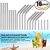 Reusable Drinking Straws Set of 16 Stainless Steel Straws Ultra Long 10.5 and 8.5 inch Drinking Metal Straws for Tumblers Rumblers Cold Beverage (8 Straight 8 Bent 4 Brushes)