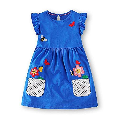 Labu Store Princess Dress for Kids Clothes Flower Dresses Girls Costume 100% Cotton Children