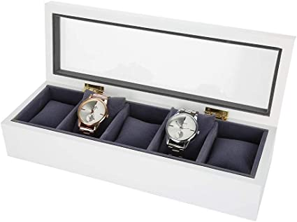 5 Grids Caja de Almacenamiento de Relojes, Estuche de Joyeria para Organizadora y Exhibición(Blanco): Amazon.es: Belleza