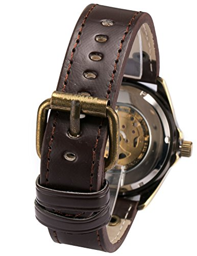 AMPM24 Steampunk Vintage Bronze Case Automatic Mechanical Skeleton Leather Band Men's Sport Watch