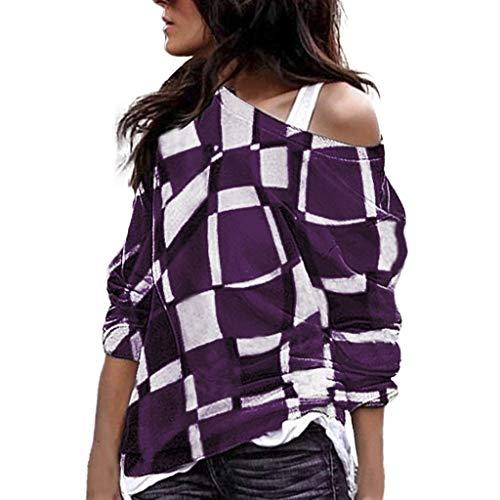 Christmas Women Plus Size Off Shoulder Black Long Sleeves Plaid Sweatshirt Color Matching Oblique Collar patchwork Tops Shirt