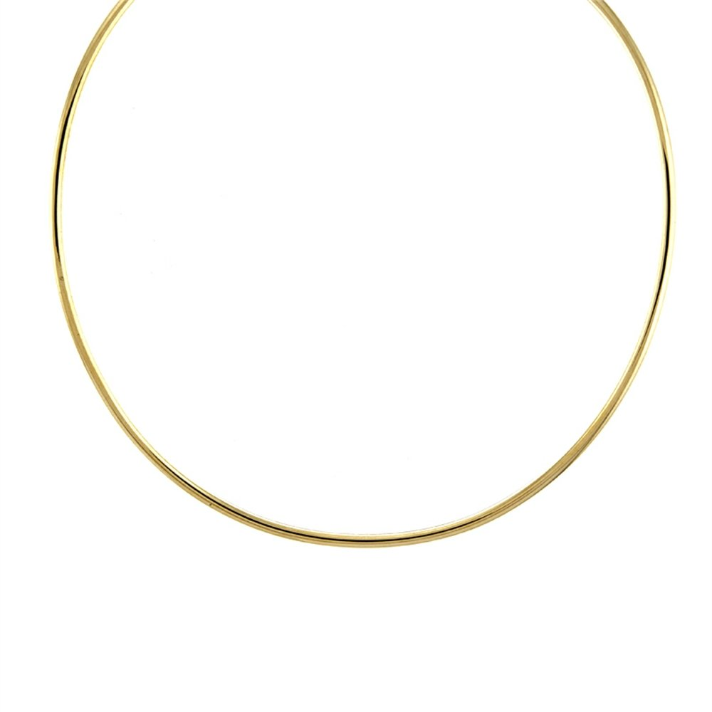 18k Yellow Gold 3mm High Polish Wire Tube Flexible Collar Necklace - 18''
