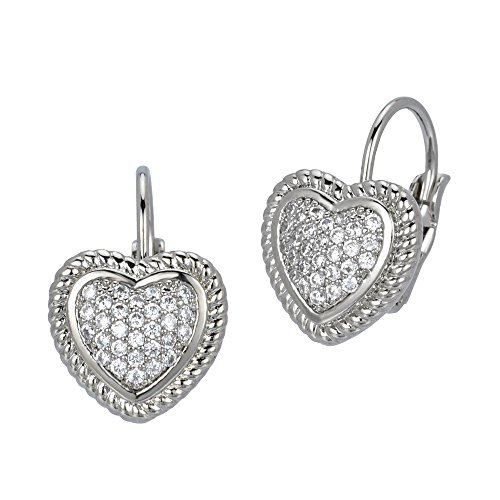 Bezel Set Pave CZ Heart Drop Earrings (Silver Tone)