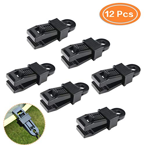 Faxco 12Pcs Clamp Tarp Clips Awning Clamp Set, Trap Clips Jaw Tent Snaps, Camping Clamp Clips, Tent Tighten Lock Grip for Outdoors, Camping, Farming, Garden