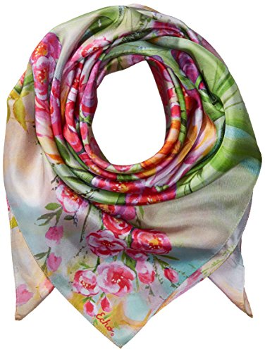 Echo Silk Scarf - Echo Women's Painted Tulip Silk Square Scarf, Coral, One Size
