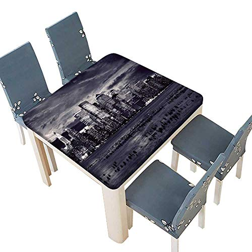 PINAFORE Table in Washable Polyeste York City Manhattan Taken from Jersey Side Hoboken Banquet Wedding Party Restaurant Tablecloth 37.5 x 37.5 INCH (Elastic Edge)