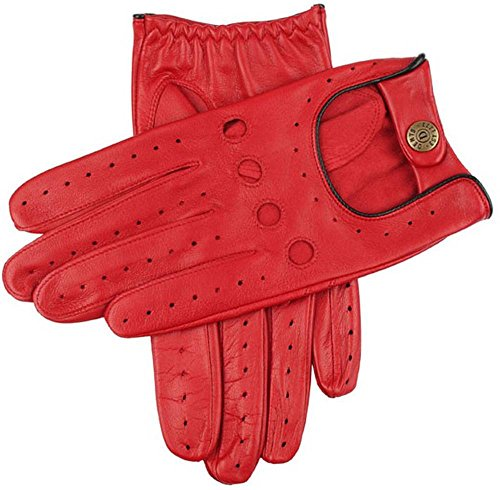 Dents Mens Delta Hairsheep Leather Classic Driving Gloves - Berry/Black - Medium