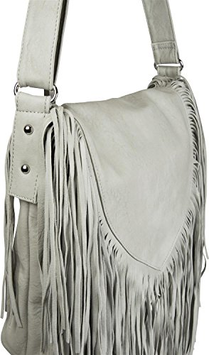 fringing ladies shoulder 02012188 Light messenger bag bag style with in handbag Grey Grey color styleBREAKER Light ethno bag nawPxn7q