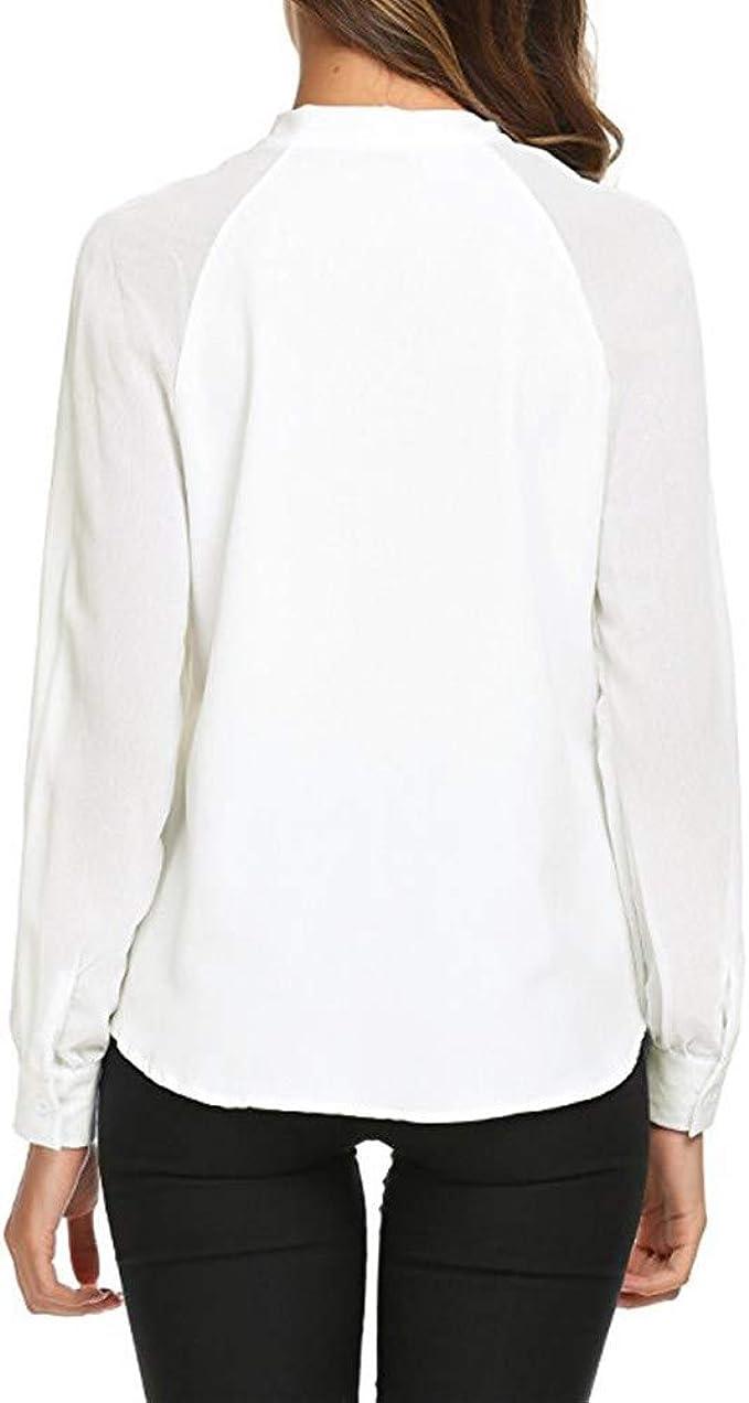 Camisa Blanca De Mujer, Camisa De Gasa Suelta, Corbata De Lazo ...