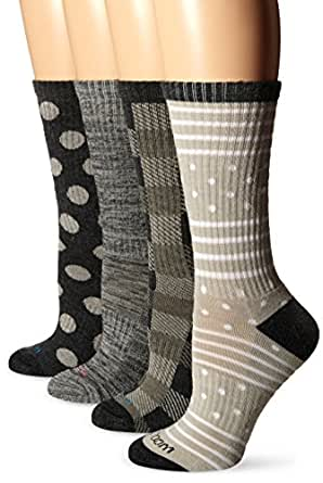 Wool IQ Women's Merino Wool Trail Crew Sock 4-pack, Black/Gray Multi, 9-11