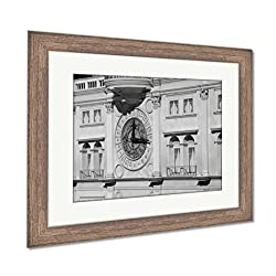 Ashley Framed Prints A Huge Wall Clock On The Exterior of Building, Wall Art Home Decoration, Black/White, 30x35 (Frame Size), Rustic Barn Wood Frame, AG6426076