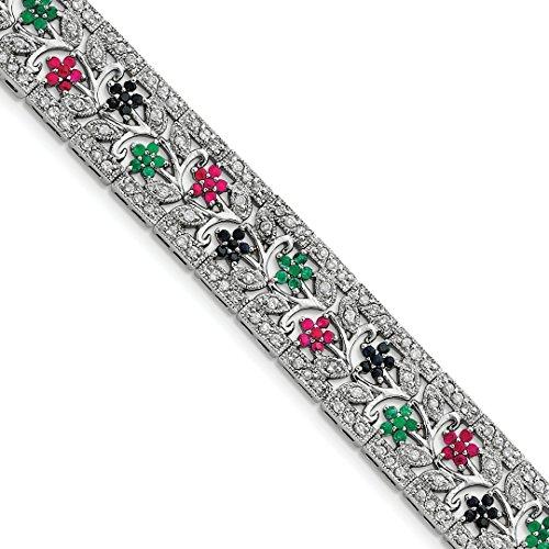 925 Sterling Silver Sapphire Red Ruby Green Emerald Cubic Zirconia Cz Bracelet 7 Inch Gemstone Fine Jewelry For Women Gift - Emerald Sapphire Ruby Bracelet