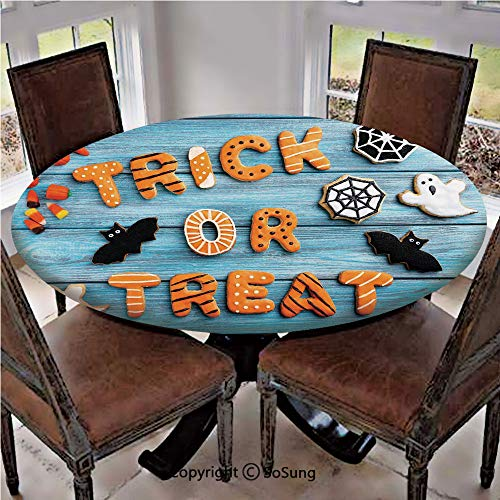 Elastic Edged Polyester Fitted Table Cover,Trick or Treat Cookie Wooden Table Ghost Bat Web Halloween,Fits up to 36