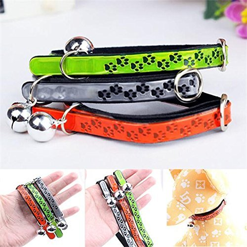 LUQUAN 1 Pcs Pet Cat Kitten Dog Puppy Reflective Safety Adjustable Collar With Bell Pu Leather Paw Pattern - 3 Optional Colors