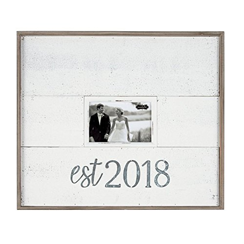 Mud Pie Tin & Wood Est. 2018 Wedding Frame Picture, One Size