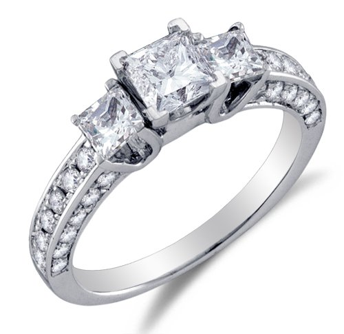 Classic 3 Stone Channel Ring - Size 9 - 14K White Gold Large Diamond Classic Traditional Engagement Ring with Side Stones - 3 Three Stone Center Setting Shape w/ Channel Invisible Set Princess Cut & Round Diamonds - (1.50 cttw)