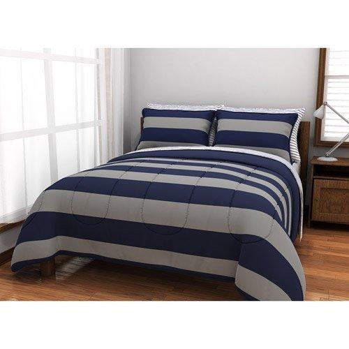 Boys Gray & Blue Rugby Reversible Comforter Set, Queen (7...