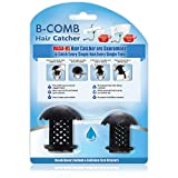 PretiHom B-Comb Universal Bathtub Drain Hair Catcher Stand-Up Shower Stall Drain Protector/Strainer/Snare 2 Pack